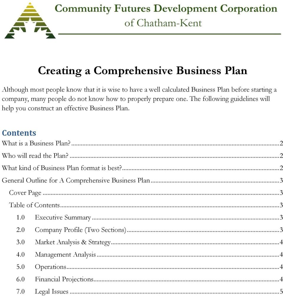 Creating a comprehensive business plan pdf 2 what kind of business plan format is best flashek