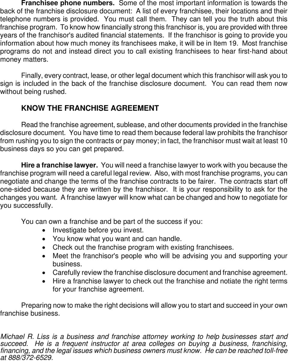 Franchise Info Package Pdf