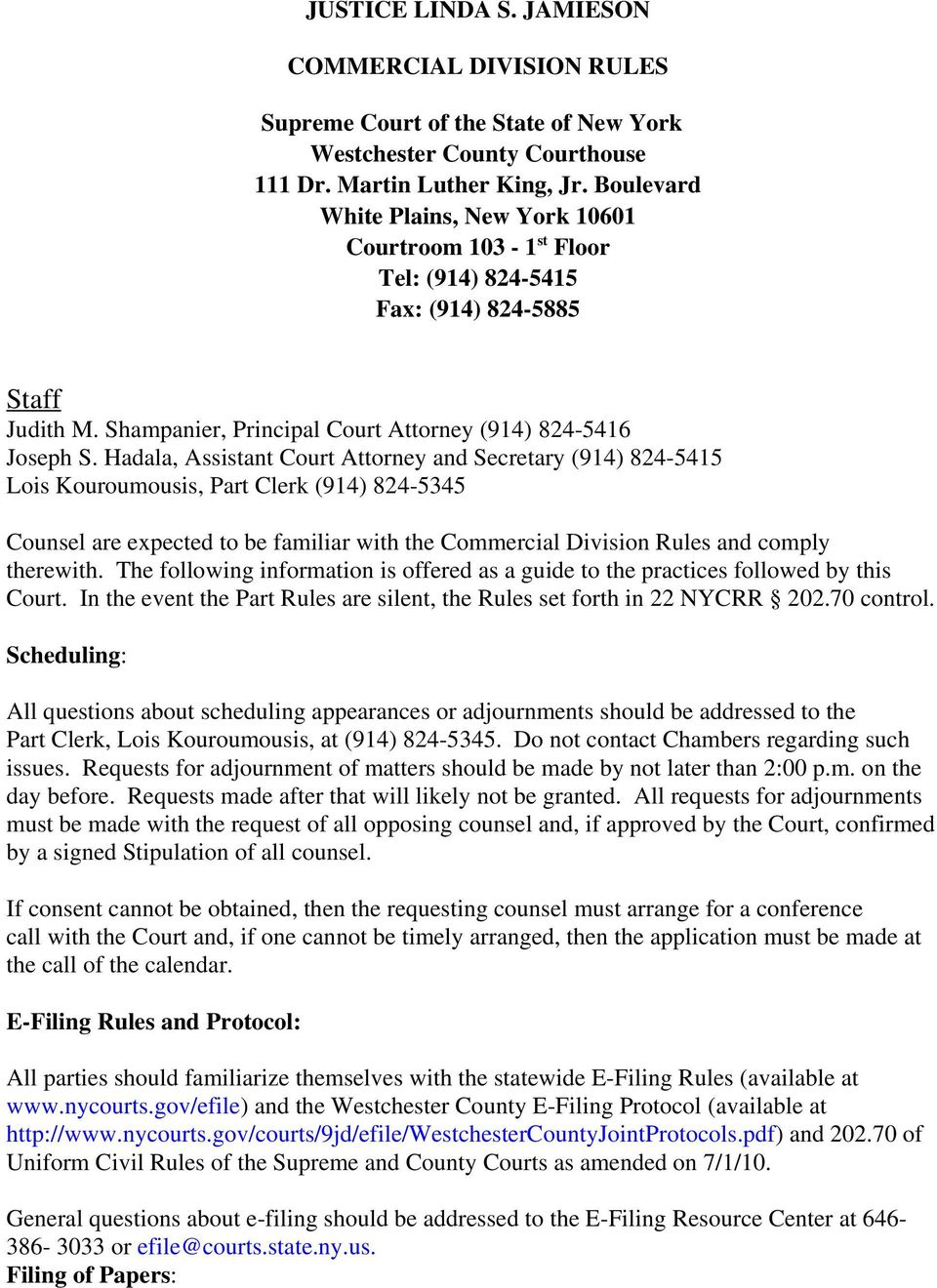 JUSTICE LINDA S  JAMIESON COMMERCIAL DIVISION RULES - PDF