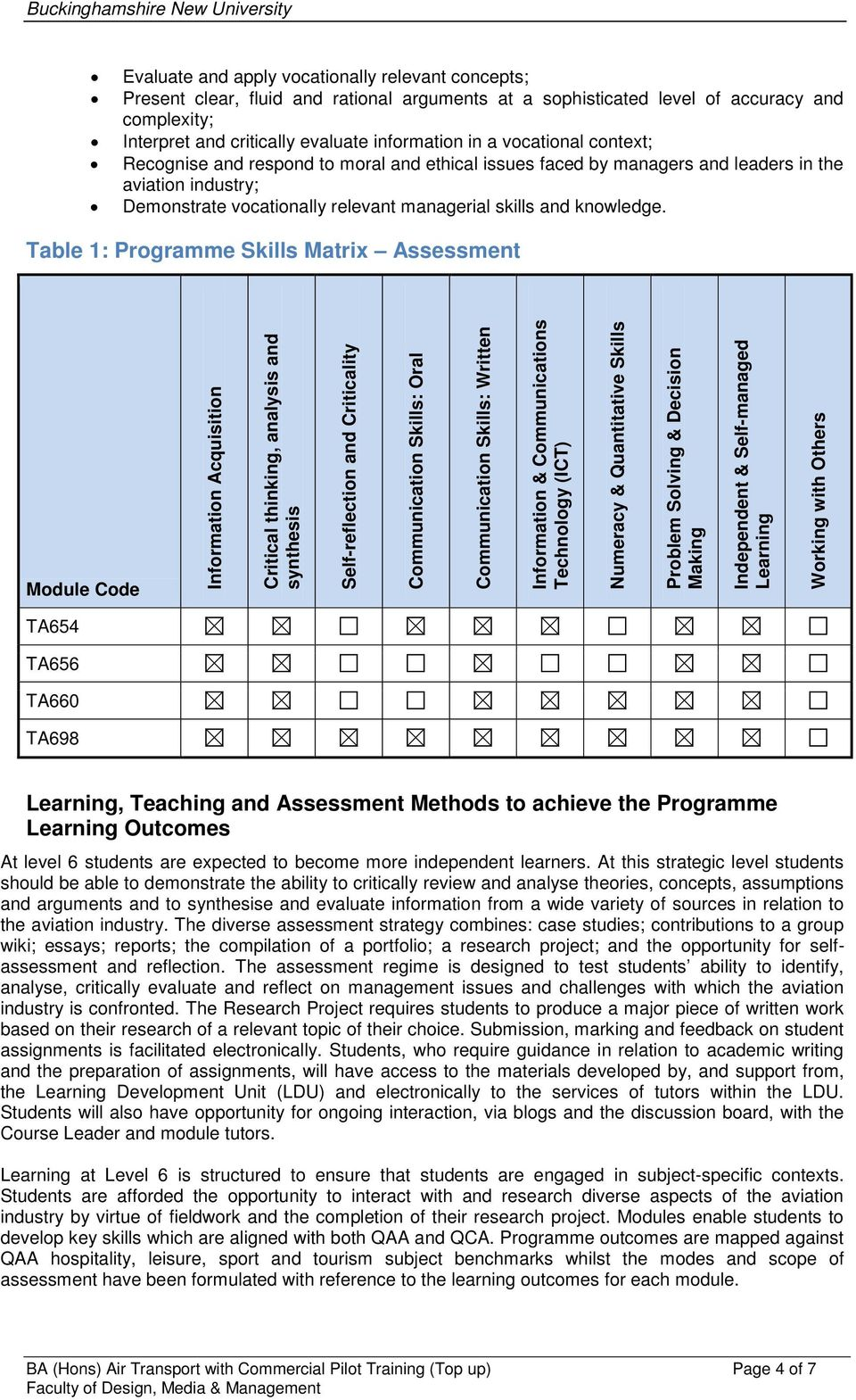 Table 1: Programme Skills Matrix Assessment Module Code Information Acquisition Critical thinking, analysis and synthesis Self-reflection and Criticality Communication Skills: Oral Communication