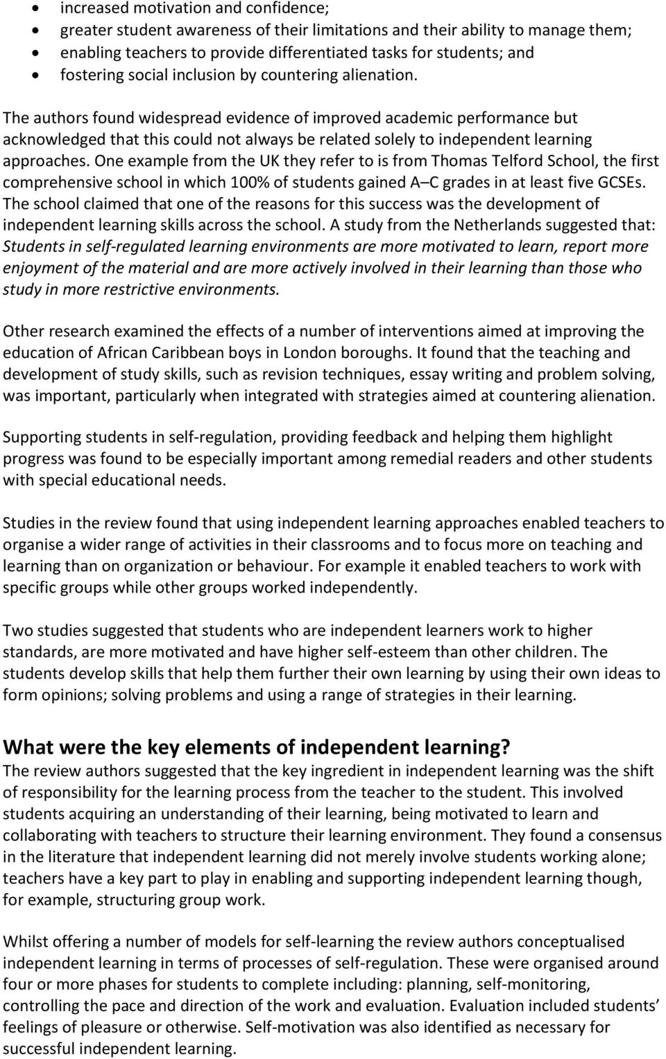 What is independent learning and what are the benefits for