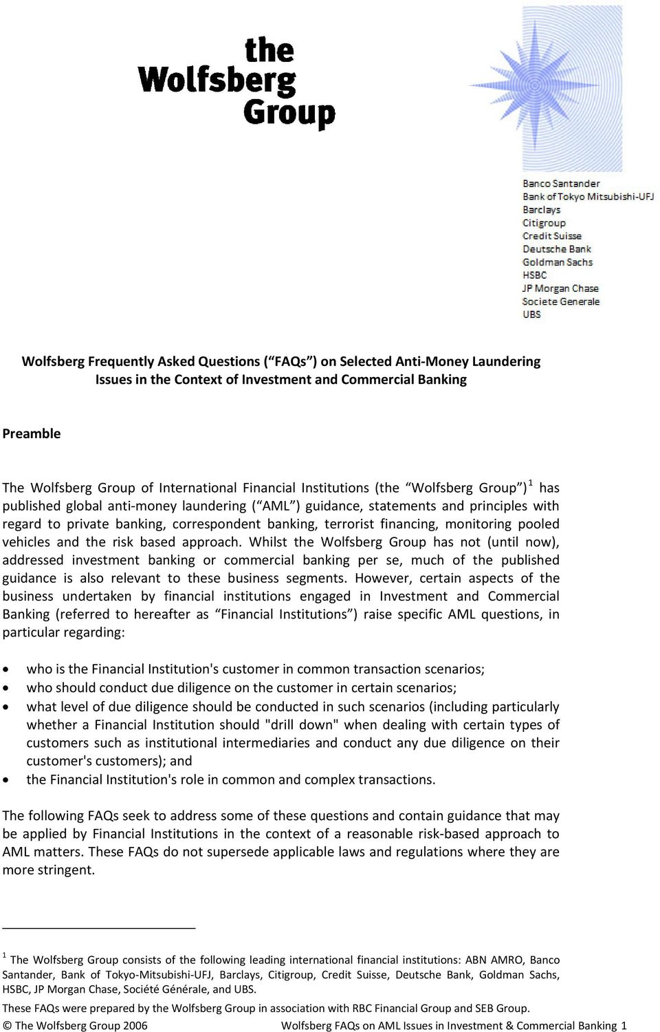 Wolfsberg Frequently Asked Questions ( FAQs ) on Selected Anti-Money