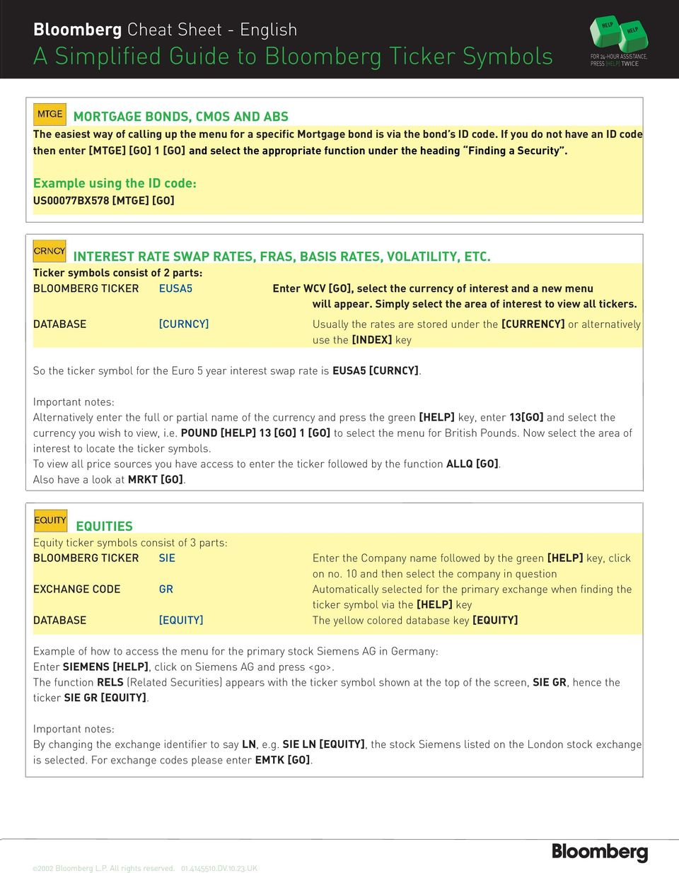 Bloomberg Cheat Sheet - English Title A Simplified Guide to