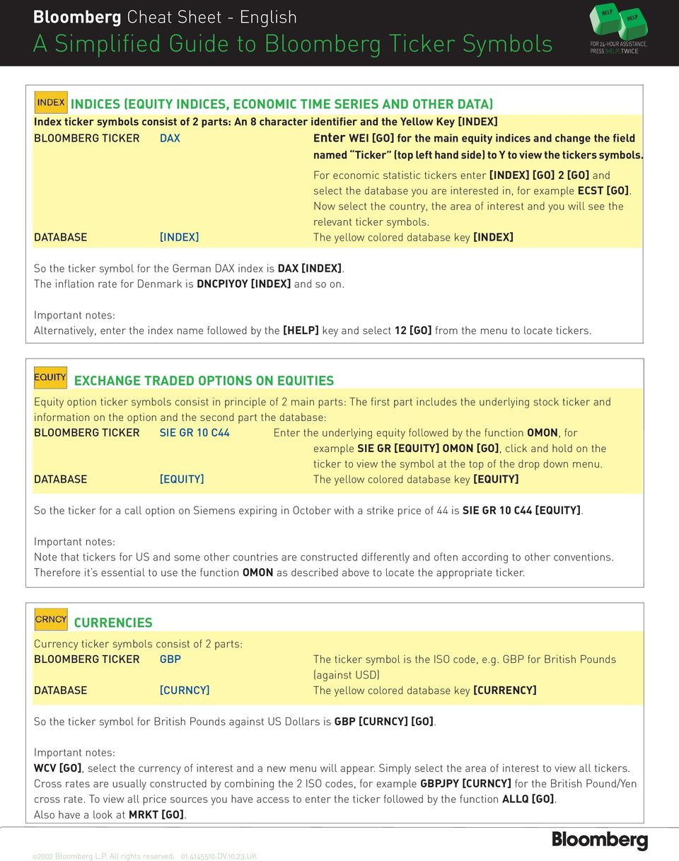 Bloomberg Cheat Sheet English Title A Simplified Guide To