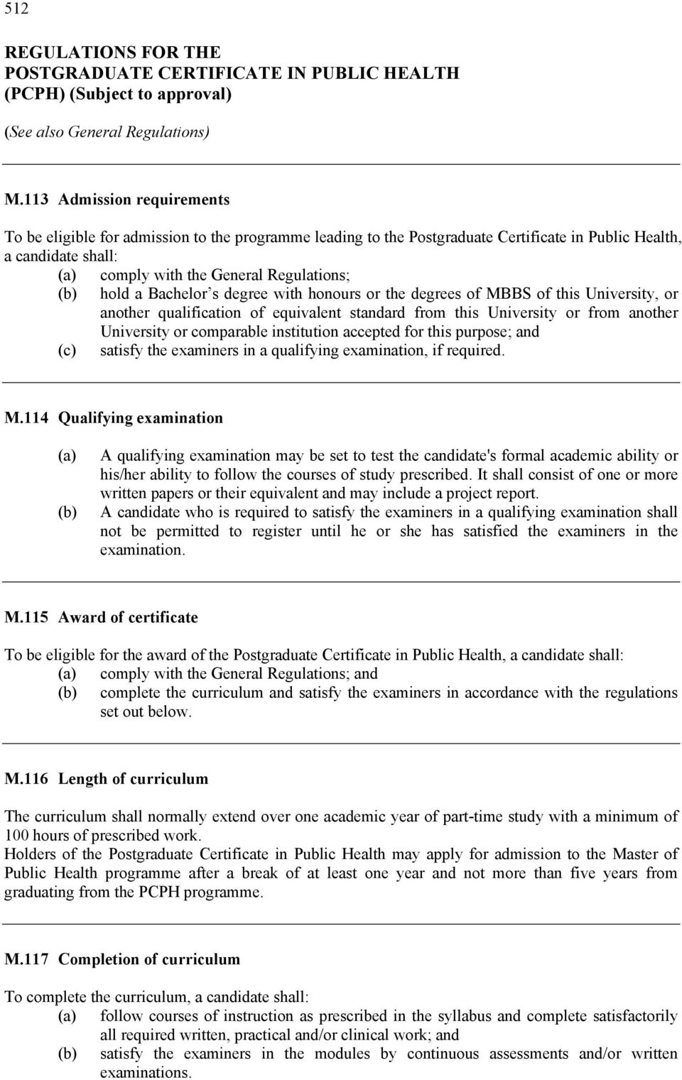Regulations For The Postgraduate Certificate In Public Health Pcph