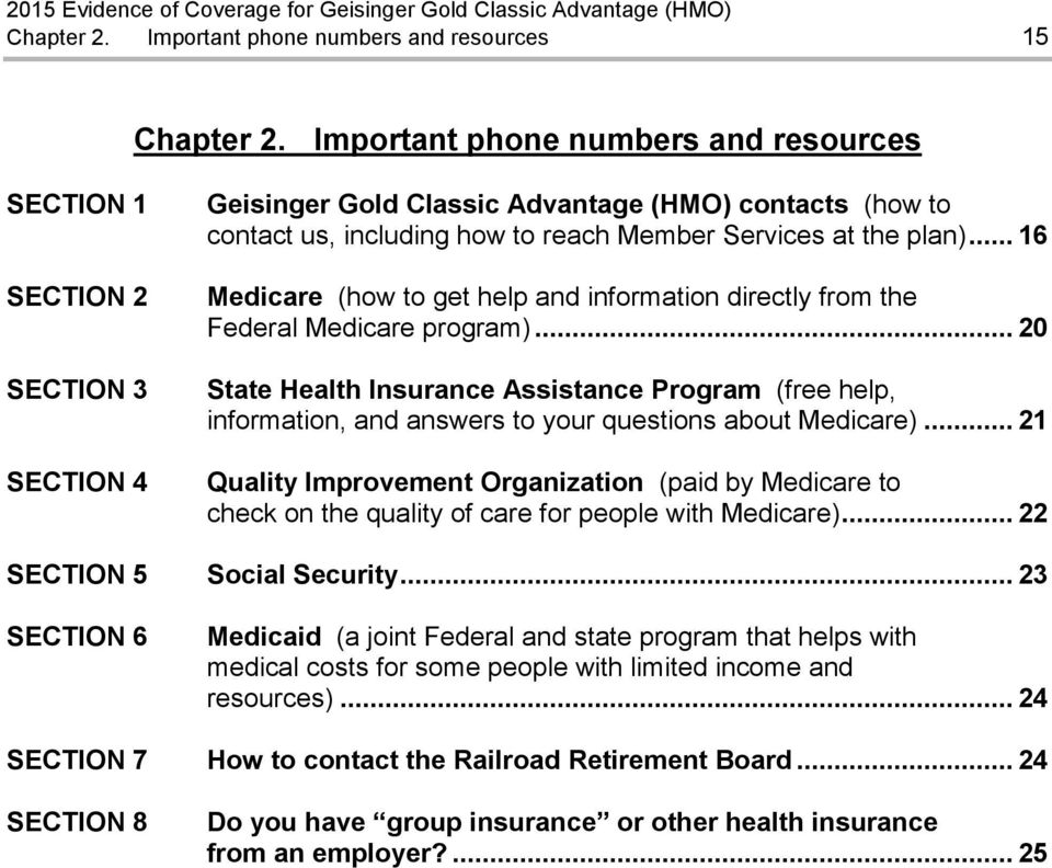 .. 16 Medicare (how to get help and information directly from the Federal Medicare program).