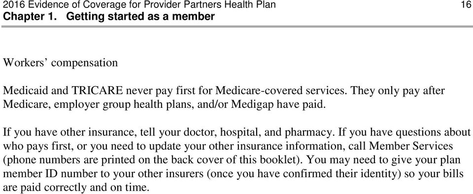 They only pay after Medicare, employer group health plans, and/or Medigap have paid. If you have other insurance, tell your doctor, hospital, and pharmacy.