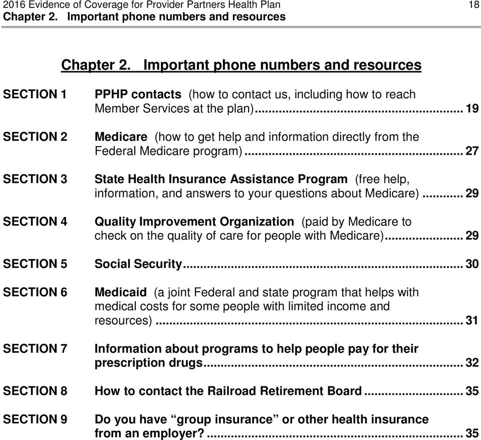 .. 19 Medicare (how to get help and information directly from the Federal Medicare program).