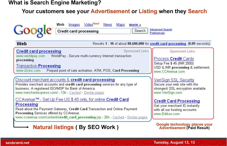 Credit card processing Natural listings ( By SEO Work ) Google