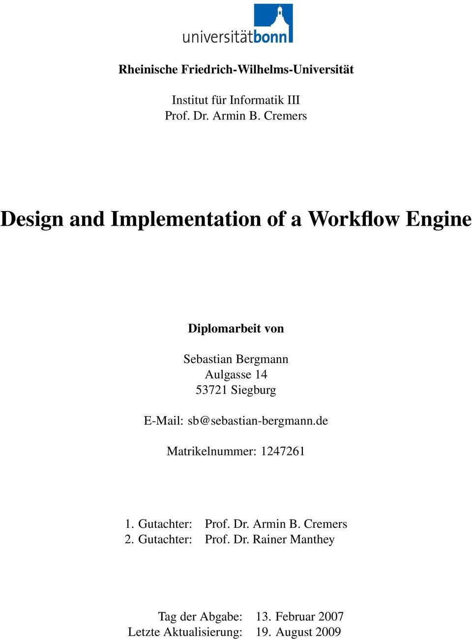 Design and Implementation of a Workflow Engine - PDF