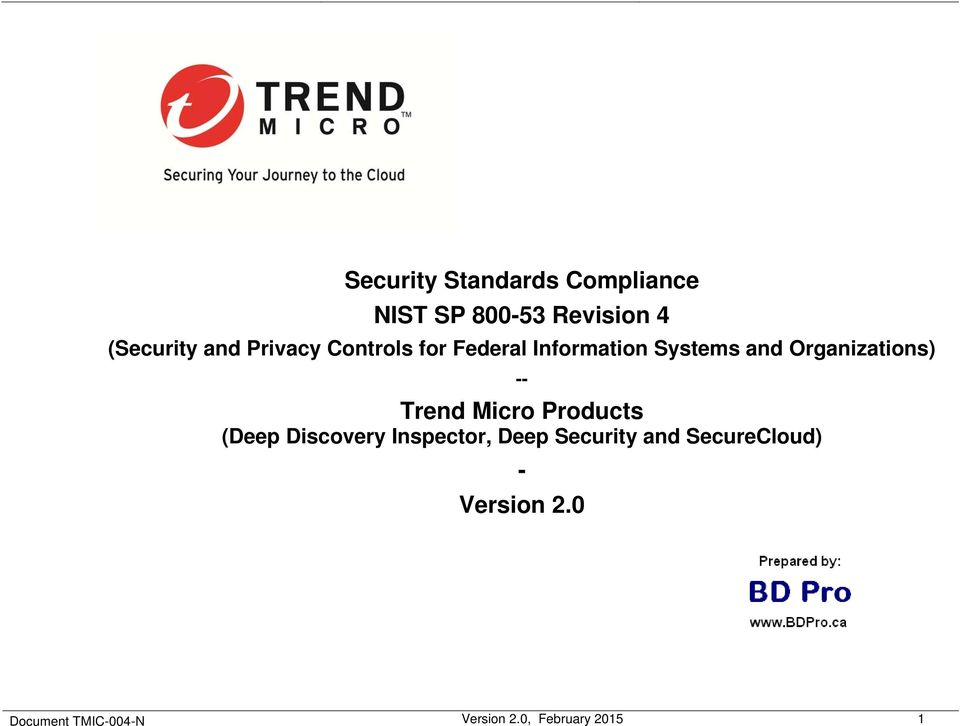 Security Standards Compliance NIST SP Revision 4  Trend