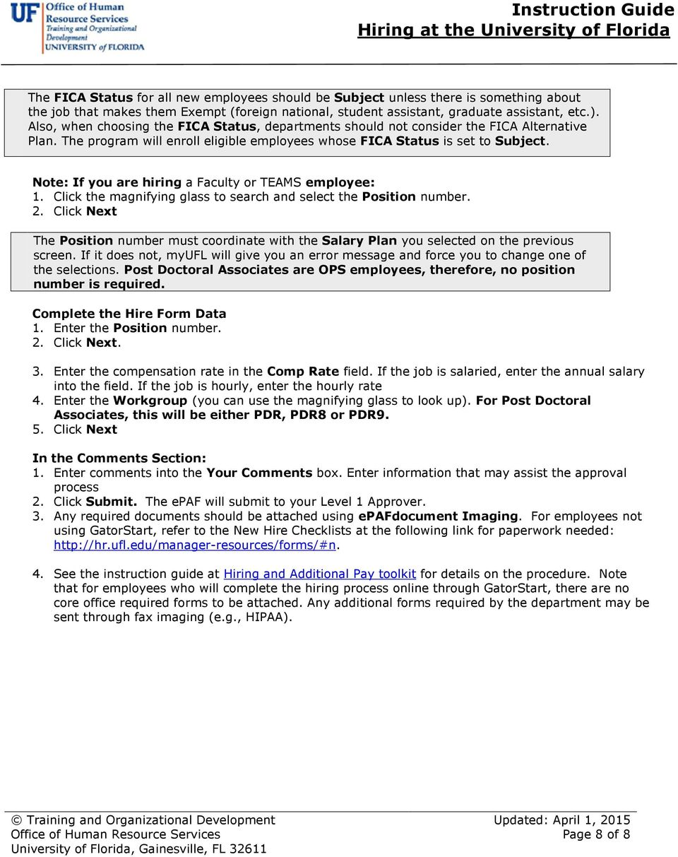 Instruction Guide Hiring at the University of Florida
