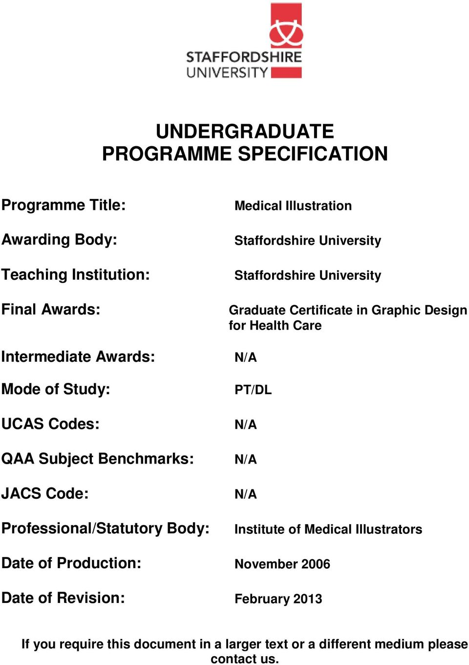 Staffordshire University Graduate Certificate in Graphic Design for Health Care N/A PT/DL N/A N/A N/A Institute of Medical Illustrators