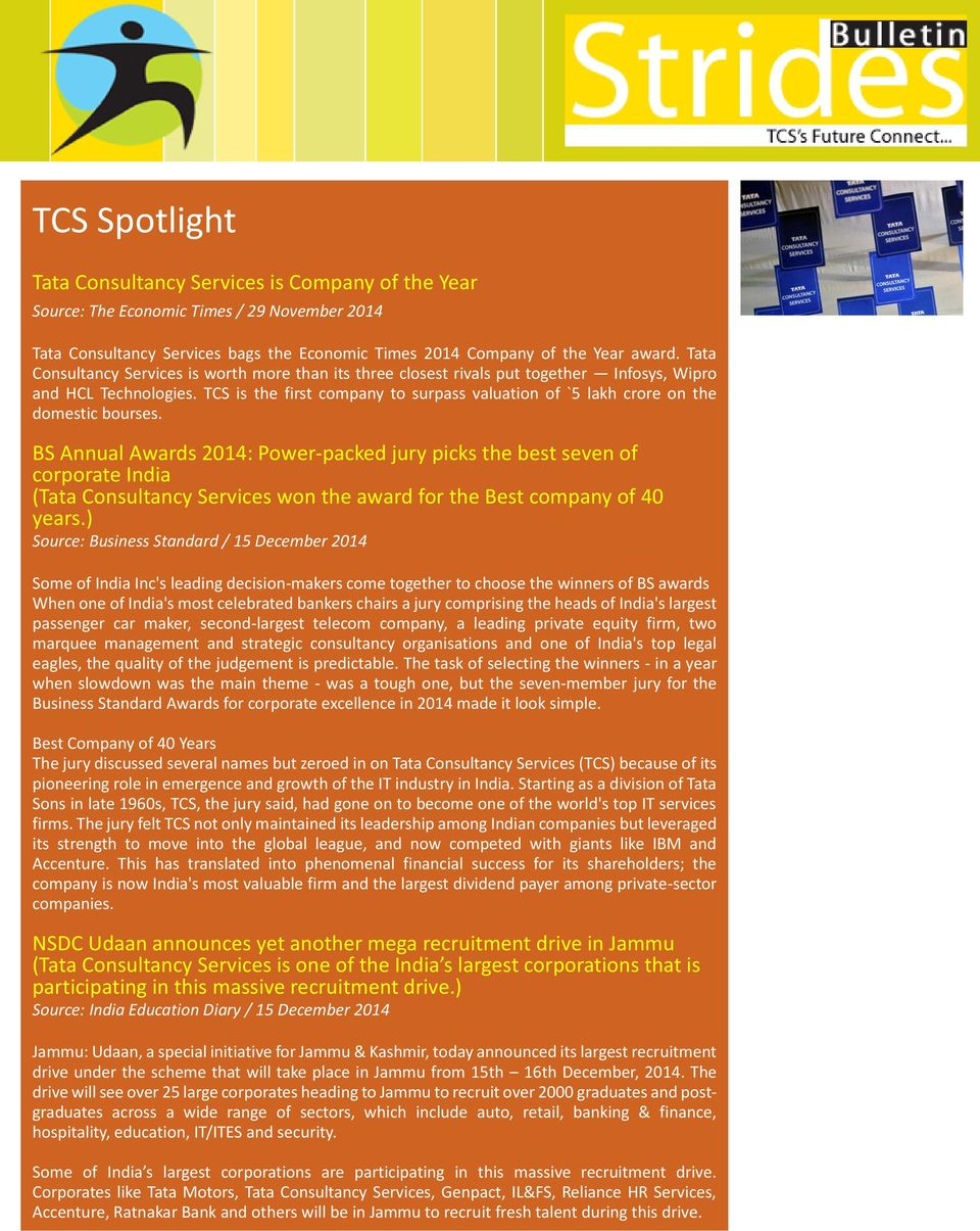 TCS Spotlight  Tata Consultancy Services is Company of the Year - PDF