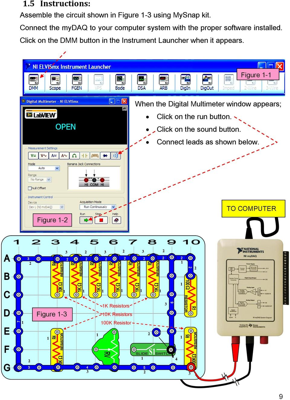 Creative Inquiry Electronics Project Lab Manual Ni Mydaq Pdf Simple Circuit Making Activity And Click On The Dmm Button In Instrument Launcher When It Appears
