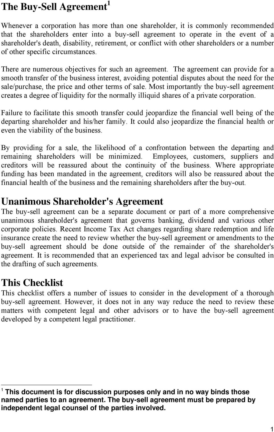 Buy Sell Agreement Planning Checklist Pdf
