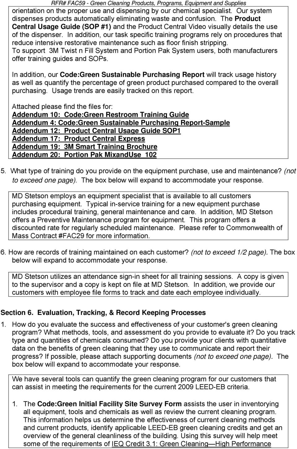 Green Cleaning Program Support Form Pdf
