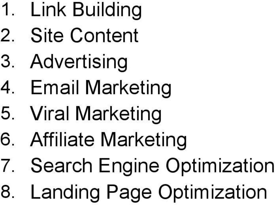 Viral Marketing 6. Affiliate Marketing 7.