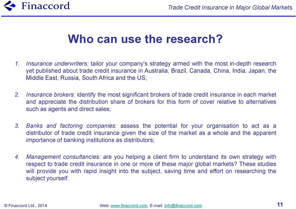 Trade Credit Insurance in Major Global Markets - PDF