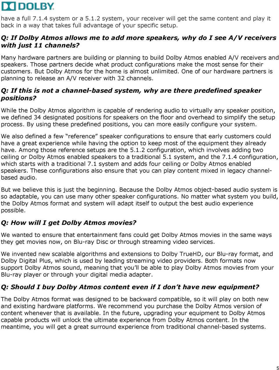 FREQUENTLY ASKED QUESTIONS ABOUT DOLBY ATMOS FOR THE HOME - PDF