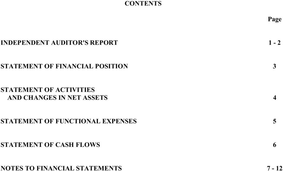 CHANGES IN NET ASSETS 4 STATEMENT OF FUNCTIONAL EXPENSES
