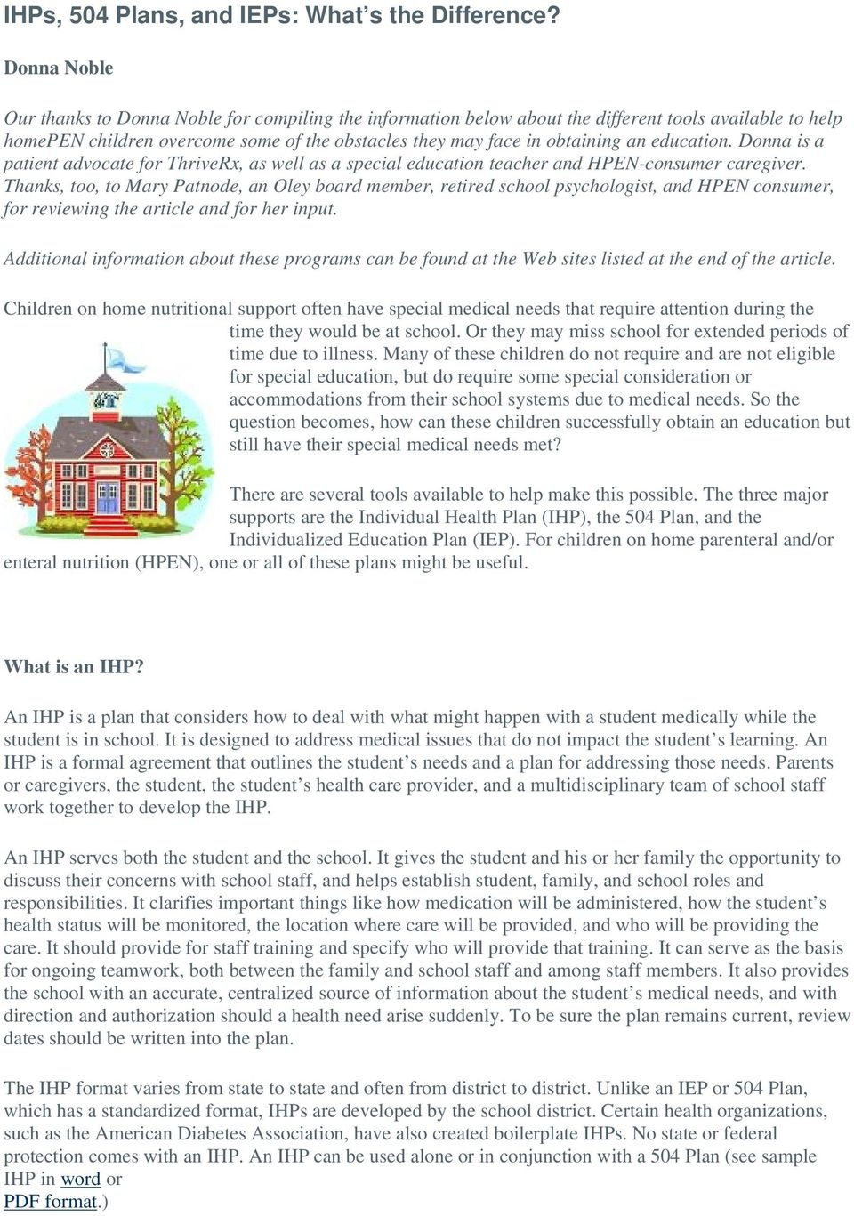 504 Plan Or Iep Whats Difference >> Ihps 504 Plans And Ieps What S The Difference Pdf