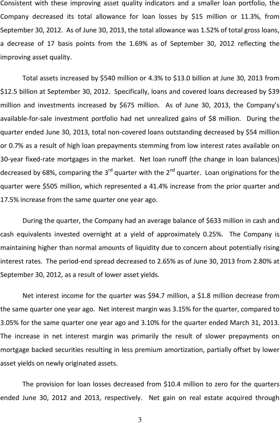 Total assets increased by $540 million or 4.3% to $13.0 billion at June 30, 2013 from $12.5 billion at September 30, 2012.