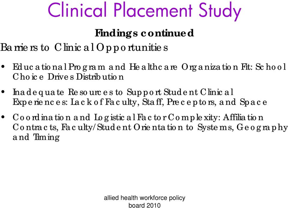 Student Clinical Experiences: Lack of Faculty, Staff, Preceptors, and Space Coordination and