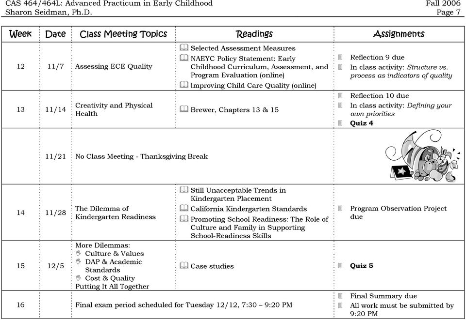 process as indicators of quality Reflection 10 due In class activity: Defining your own priorities Quiz 4 11/21 No Class Meeting - Thanksgiving Break 14 11/28 15 12/5 The Dilemma of Kindergarten