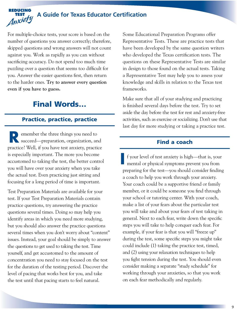 Reducing Test Anxiety - PDF