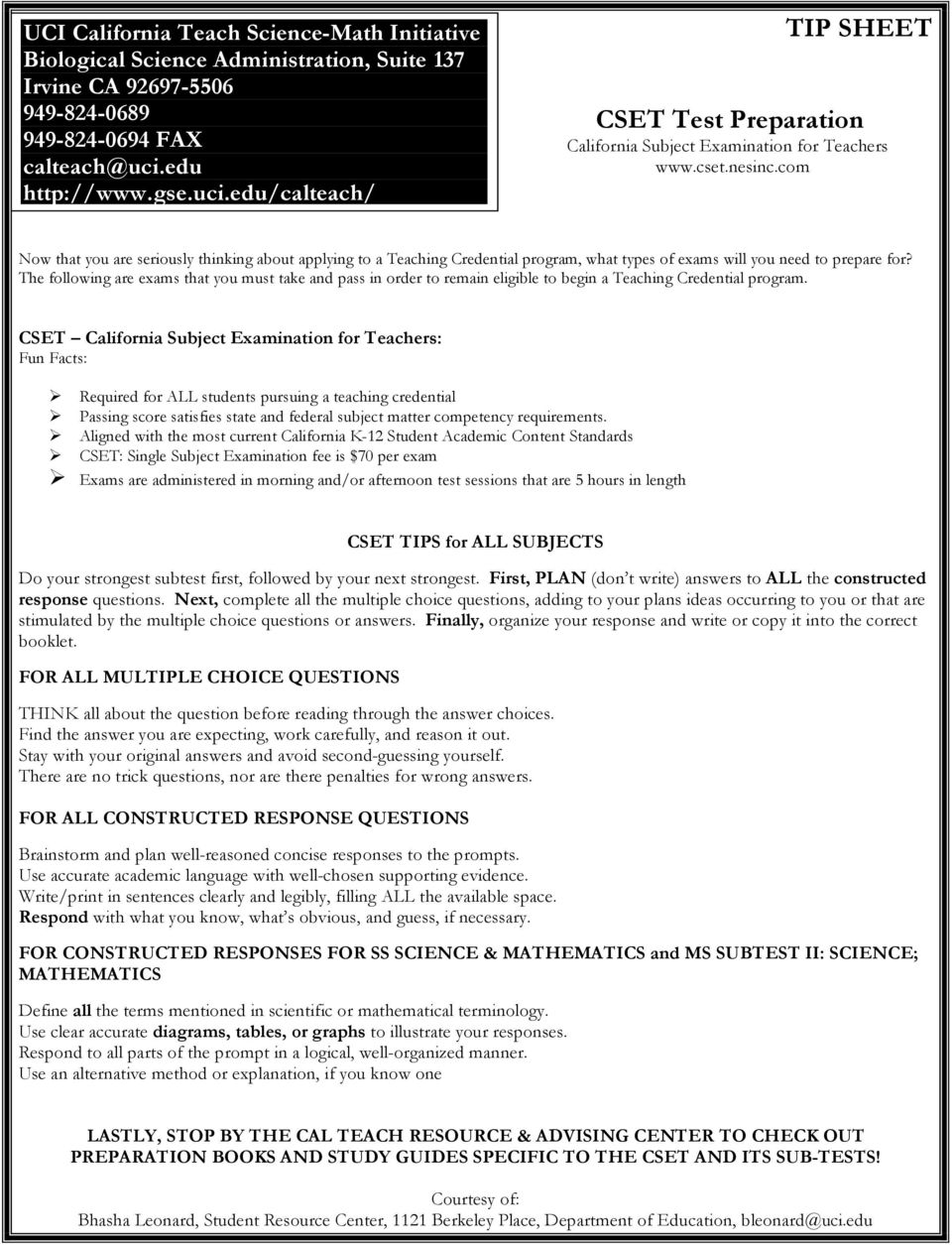 TIP SHEET  Let s Talk About the CBEST, CSET & GRE! - PDF