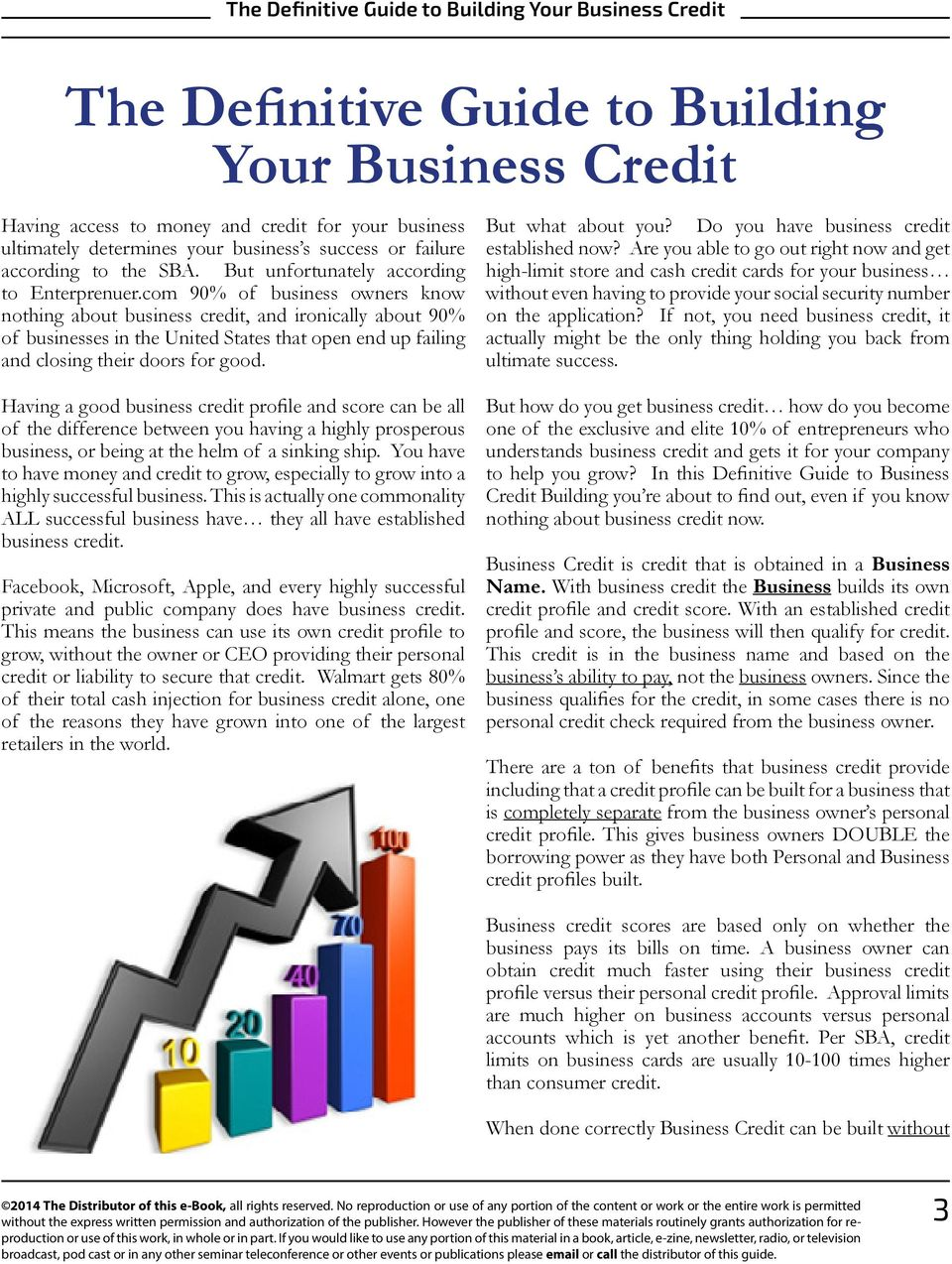 com 90% of business owners know nothing about business credit, and ironically about 90% of businesses in the United States that open end up failing and closing their doors for good.