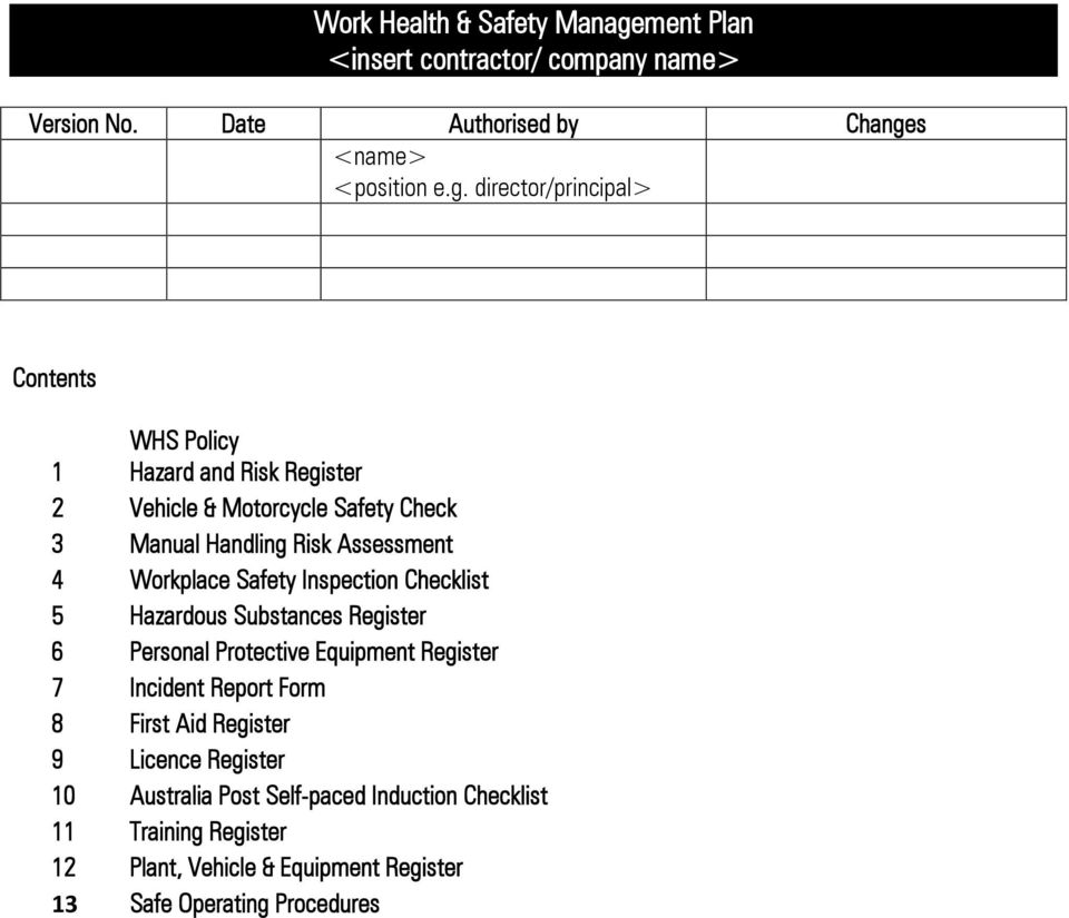Planning for safety. Template WHS Management Plan for mail Throughout Ohs Monthly Report Template