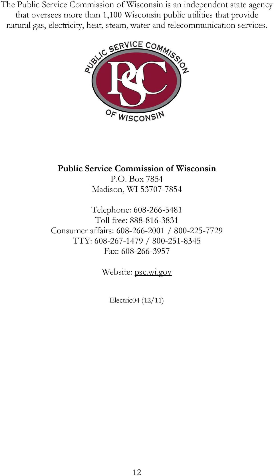 Public Service Commission of Wisconsin P.O.