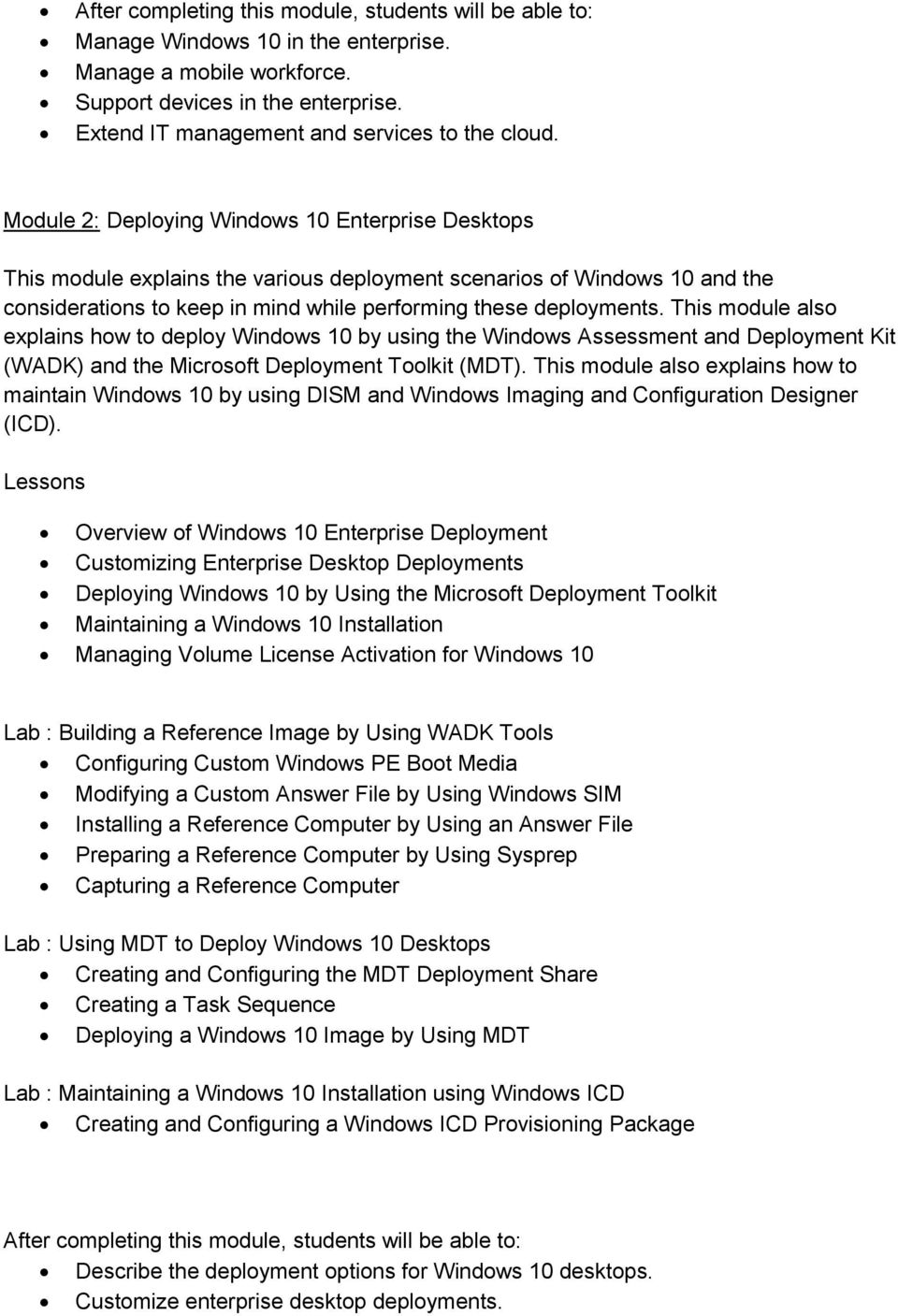 Course : Deploying and Managing Windows 10 Using Enterprise
