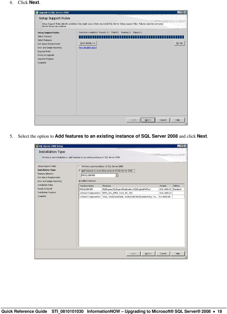 instance of SQL Server 2008 and click Next.