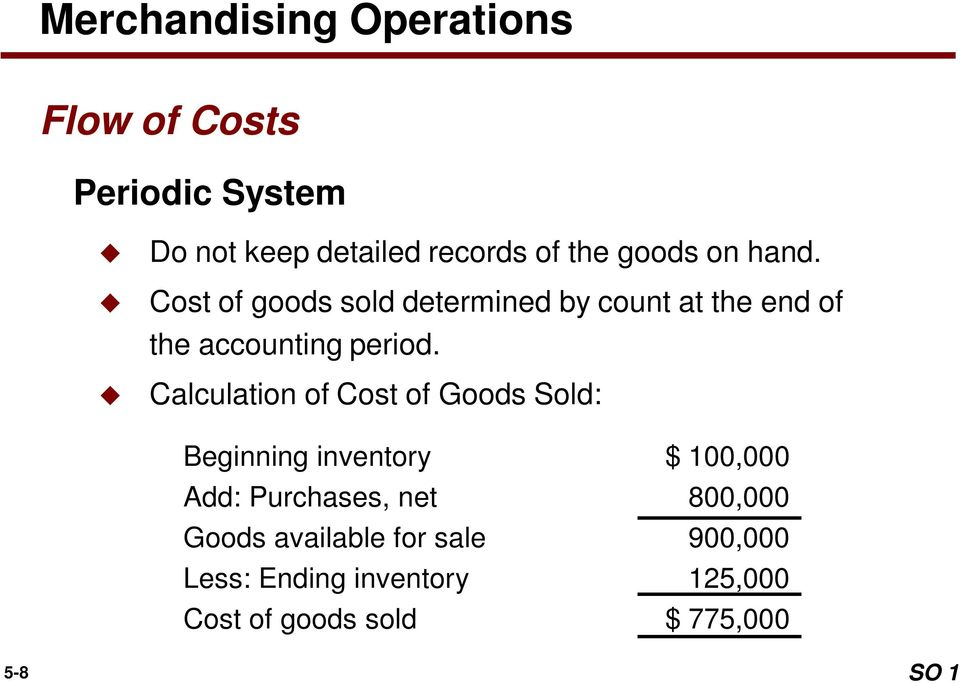 Calculation of Cost of Goods Sold: Beginning inventory $ 100,000 Add: Purchases, net 800,000