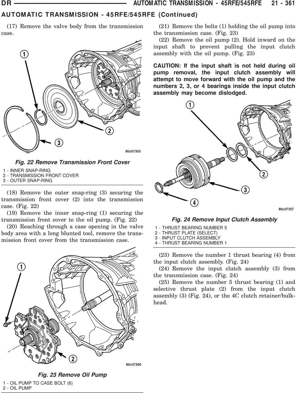 Automatic Transmission 45rfe 545rfe Pdf 2 4 Twin Cam Engine And Trans Bolts Diagram Hold Inward On The Input Shaft To Prevent Pulling Clutch Assembly With Oil