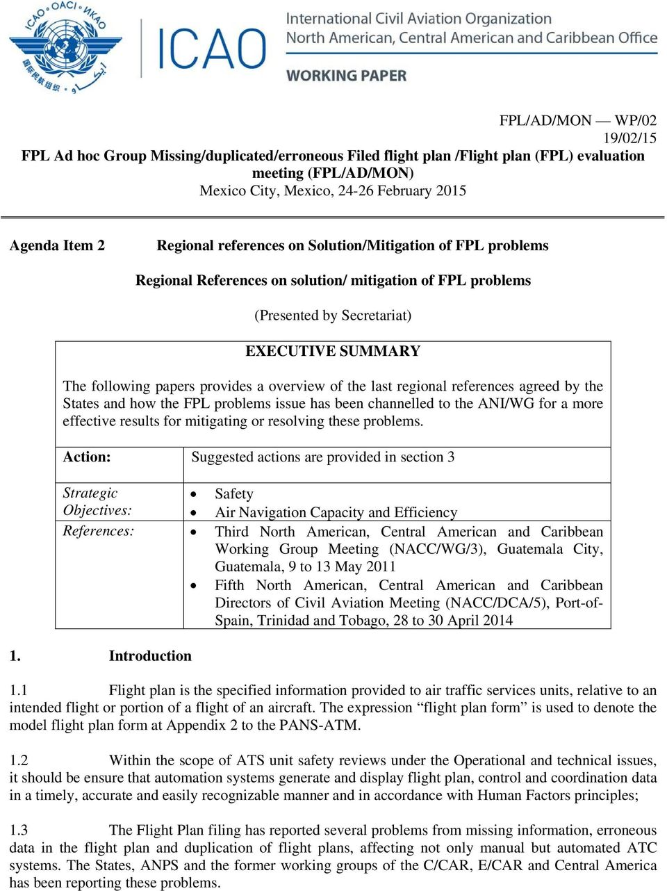 Regional References on solution/ mitigation of FPL problems