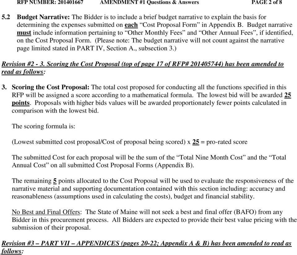 STATE OF MAINE REQUEST FOR PROPOSALS AMENDMENT - PDF