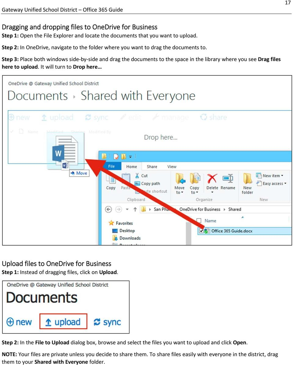 Step 3: Place both windows side by side and drag the documents to the space in the library where you see Drag files here to upload.