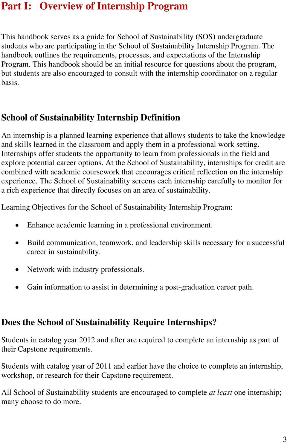 Part I: Overview and Definitions of the Internship Program  Step by