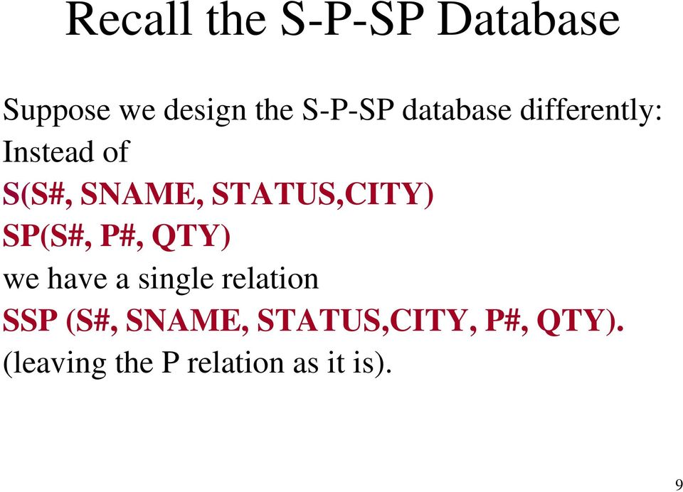 STATUS,CITY) SP(S#, P#, QTY) we have a single relation