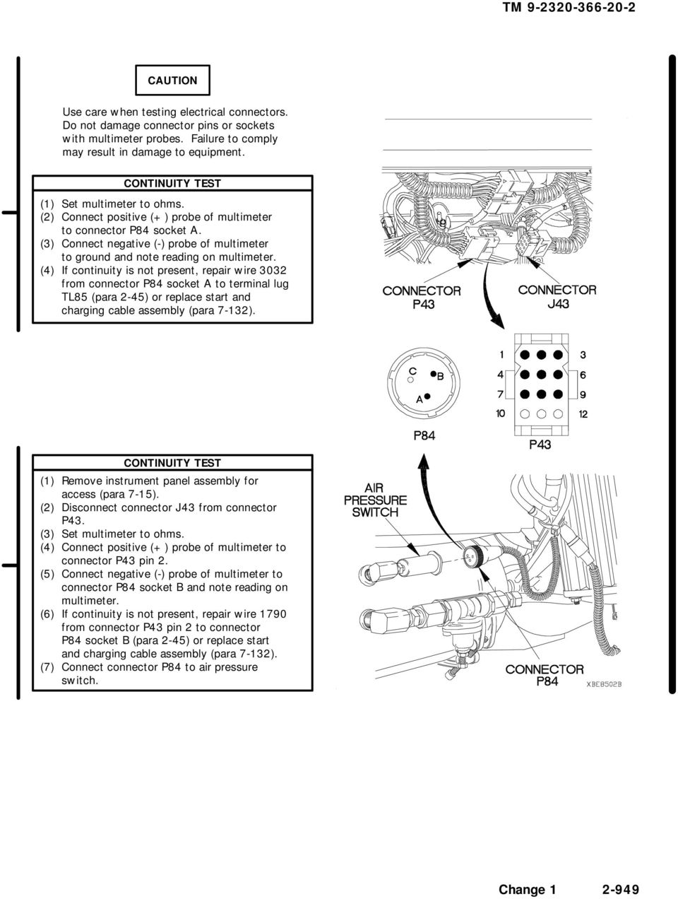 Technical Manual Maintenance Instructions Unit M1083 Voltmeter Wiring Diagram Charging System In 3 Connect Negative Probe Of Multimeter To Ground And Note Reading