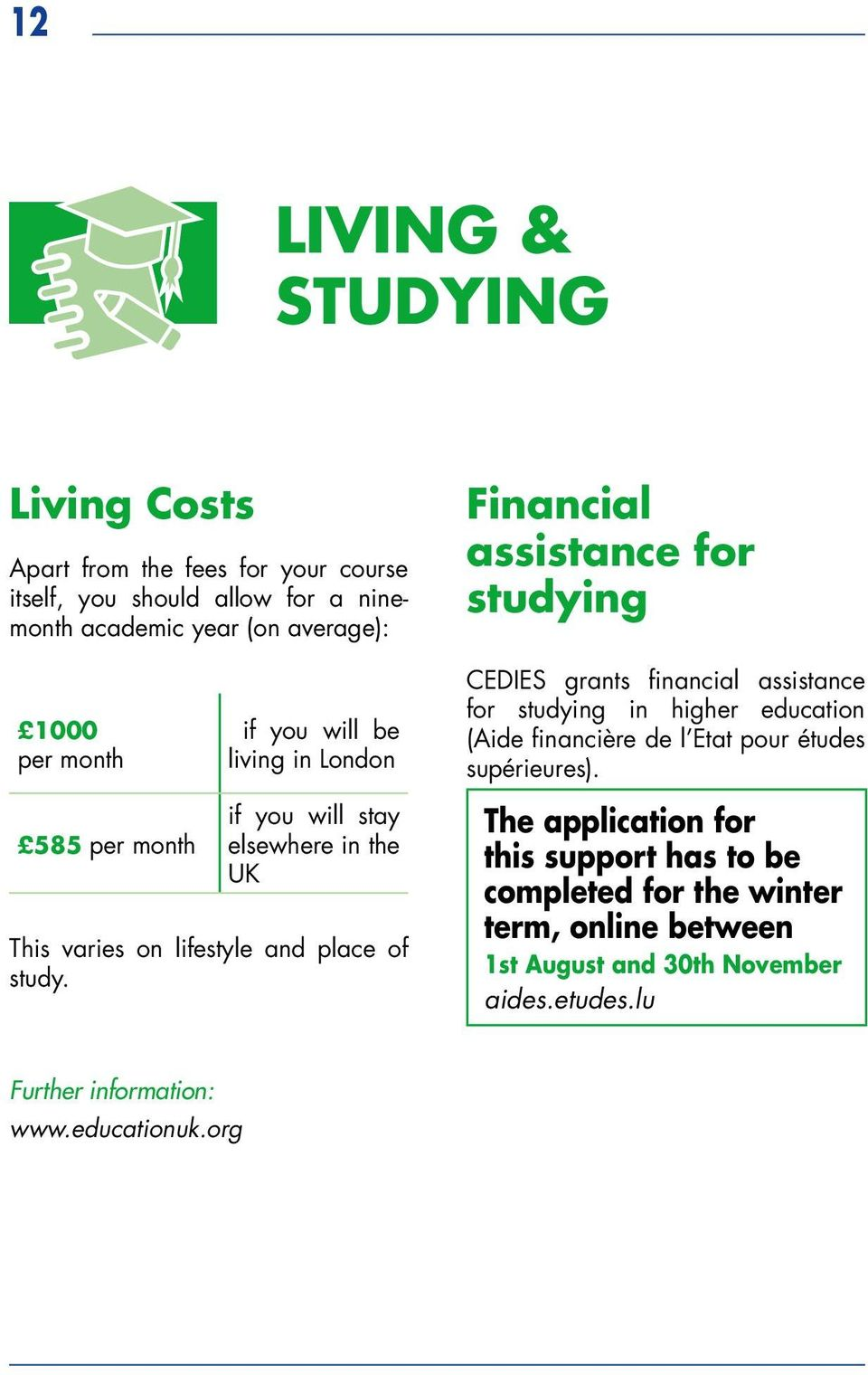 Studying In The United Kingdom Ireland Pdf 360 Degreepass Diagram Success Financire De L Etat Pour Tudes Suprieures 585 Per Month If You Will Stay