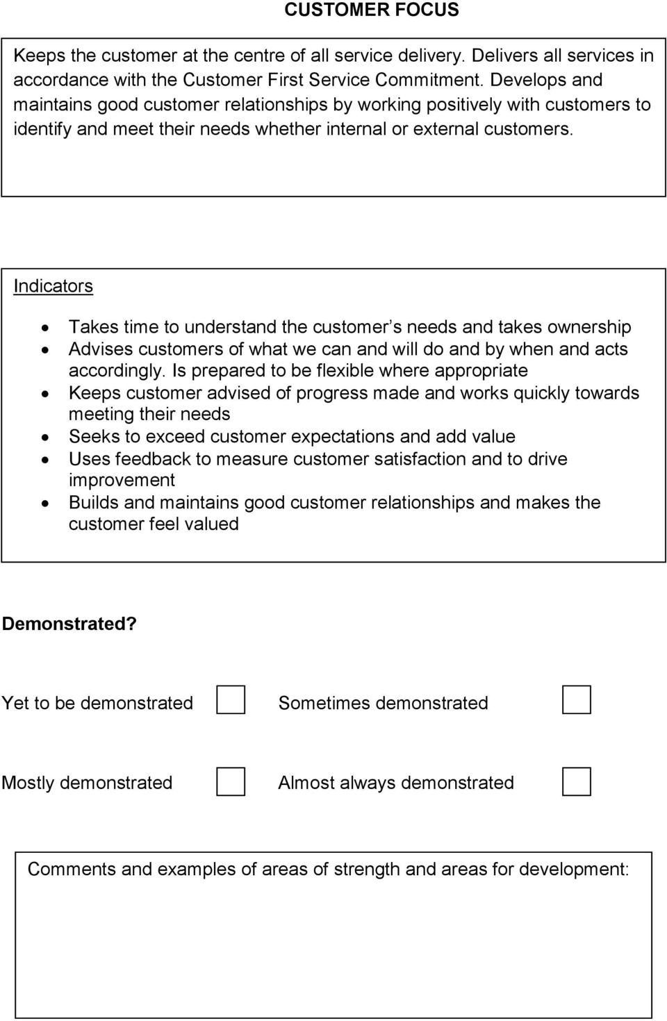 Indicators Takes time to understand the customer s needs and takes ownership Advises customers of what we can and will do and by when and acts accordingly.