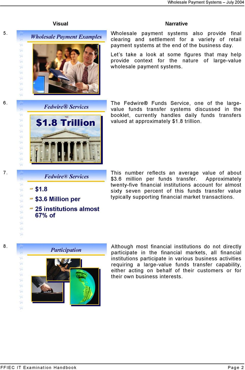 8 Trillion The Fedwire Funds Service, one of the largevalue funds transfer systems discussed in the booklet, currently handles daily funds transfers valued at approximately $1.8 trillion. 7.