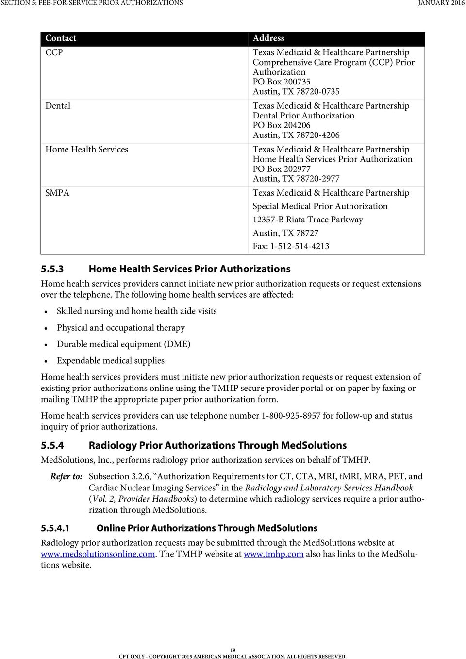 SECTION 5 FEE FOR SERVICE PRIOR AUTHORIZATIONS TEXAS