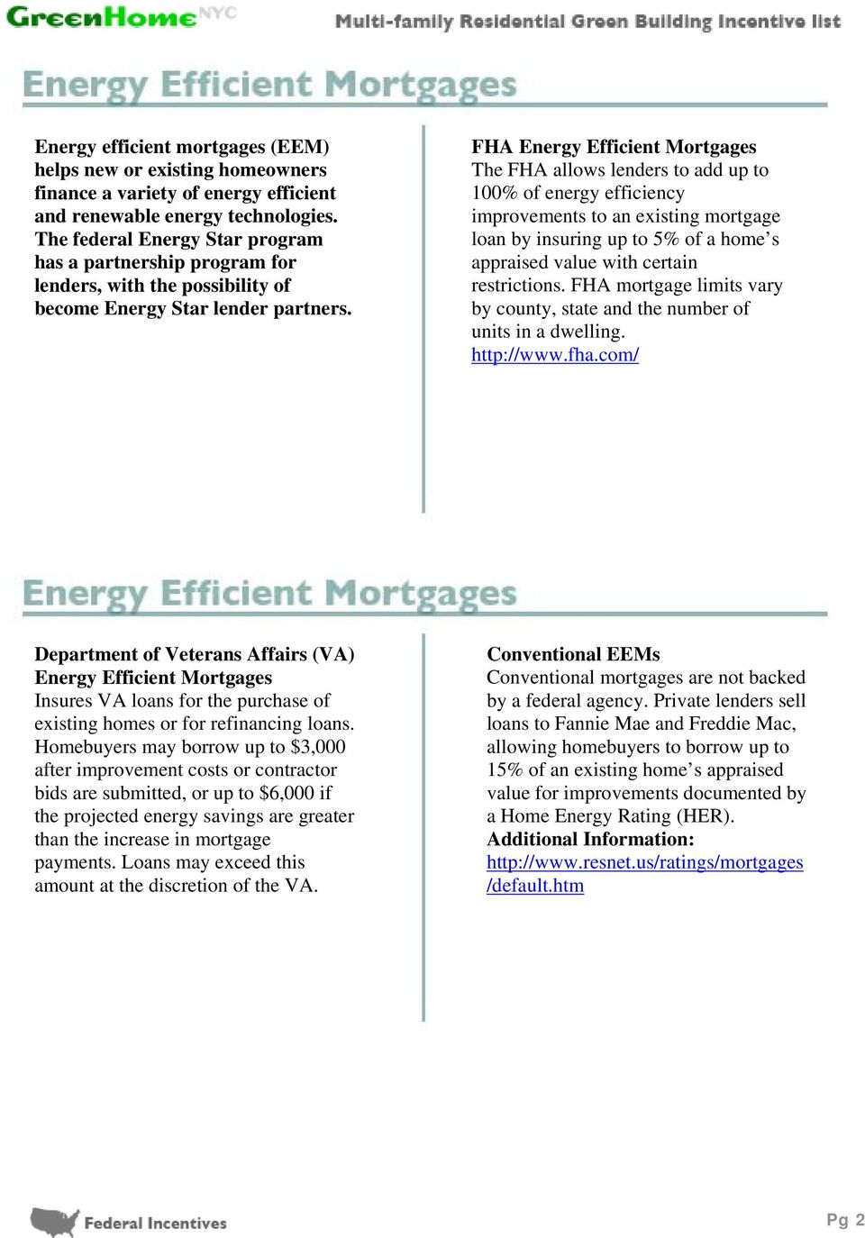 FHA Energy Efficient Mortgages The FHA allows lenders to add up to 100% of energy efficiency improvements to an existing mortgage loan by insuring up to 5% of a home s appraised value with certain