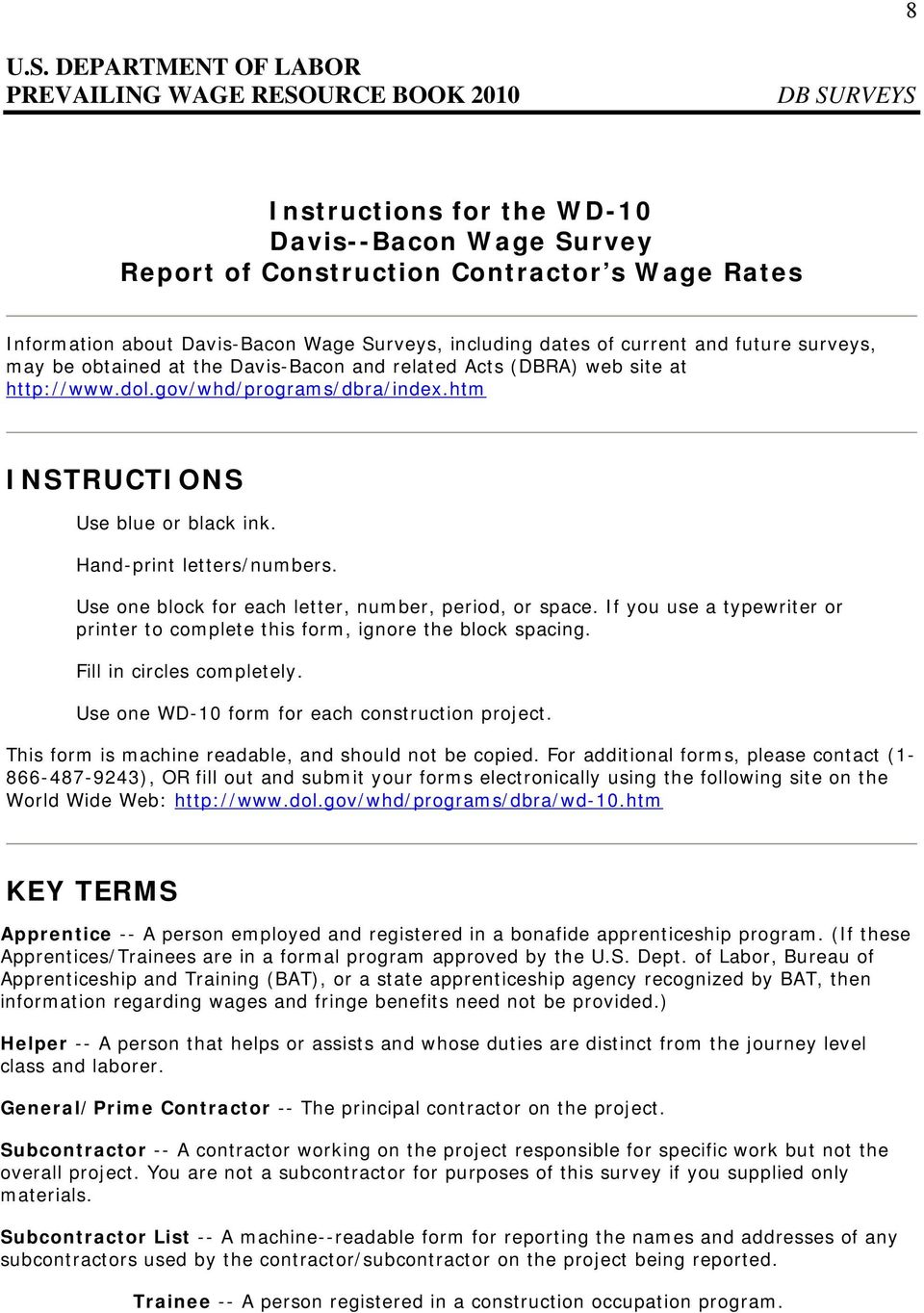 U S  DEPARTMENT OF LABOR PREVAILING WAGE RESOURCE BOOK 2010
